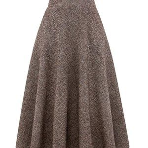 Brown Tweed High Waist Long Skirt